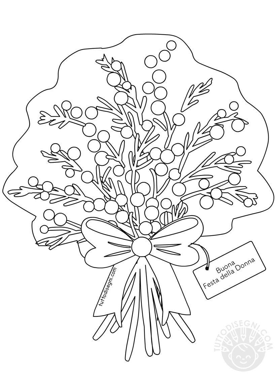 Mimosa Da Colorare.Tutto Disegni Disegni Da Colorare Biglietti Auguri