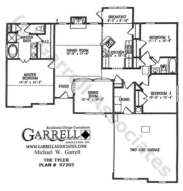 Tyler House Plan # 97205, 1st Floor Plan, Ranch Style House Plans