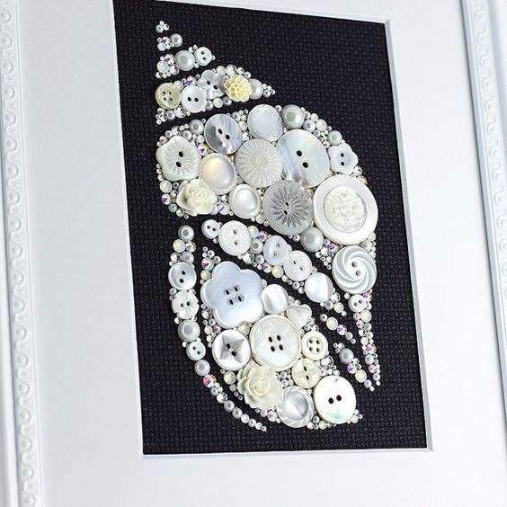 Button Art White Seashell Coastal Home by PaintedWithButtons