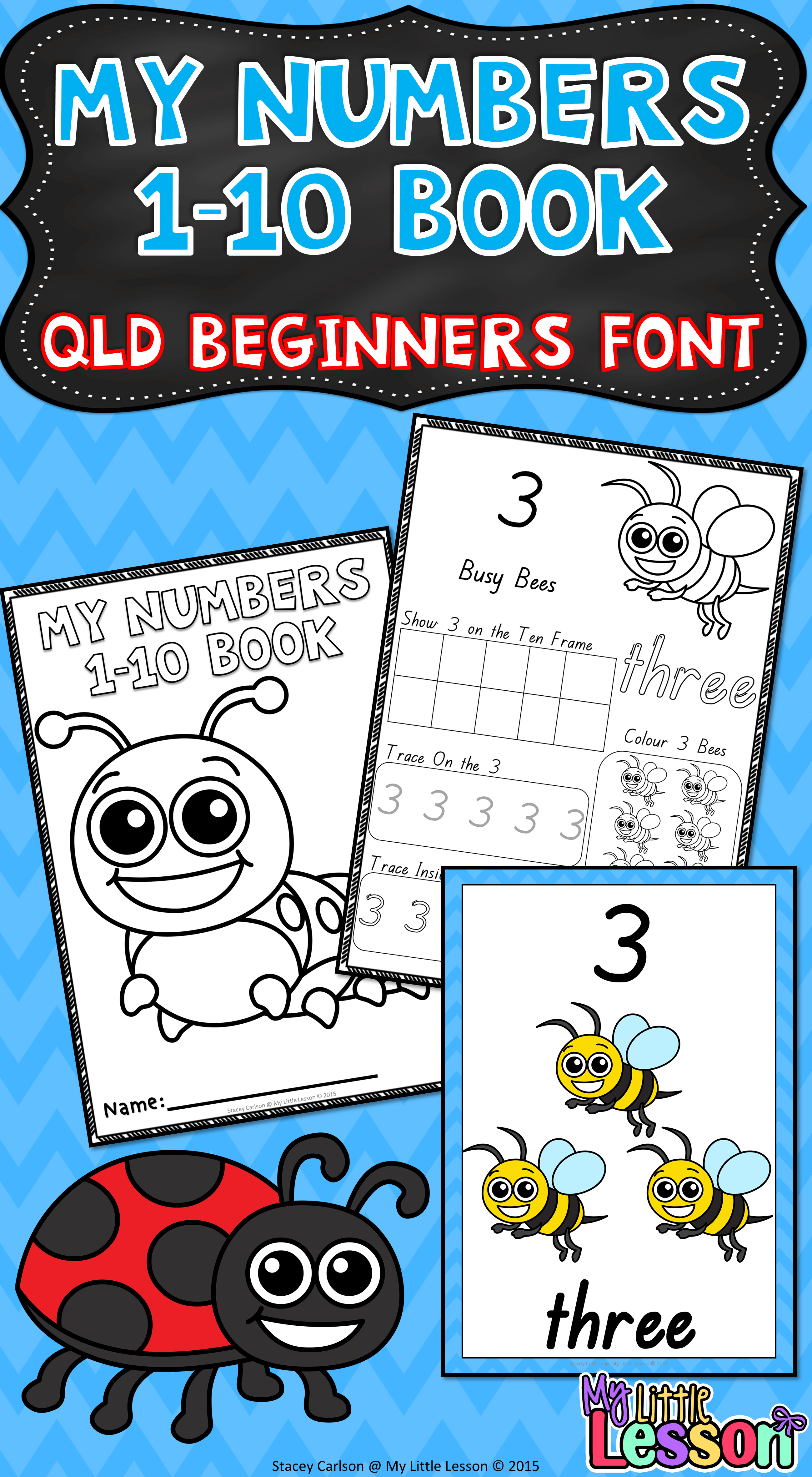 Numbers 1 10 Qld Beginners Font Worksheets And Posters