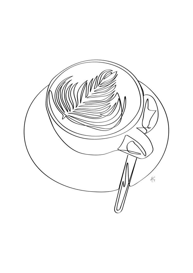 Cappuccino Latte Coffee Mug With Leaf Design Minimal Art Black And White One Line Art Coffee Lover Coffee Addict.! #mugart