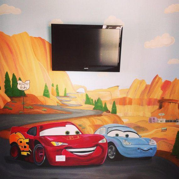 Disney Cars Handpainted Wall Mural On Large By KidMuralsbyDanaR