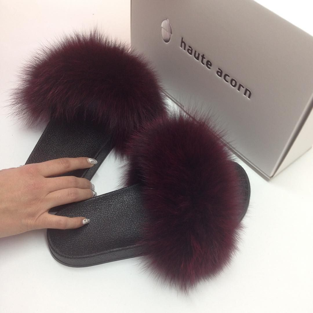 1c495d62997 Bordeux fox fur slides! Fluffy as hell!  furslides  fluffyslides   fursandals