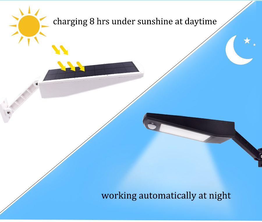 48 Led Luz Solar 900lm Al Aire Libre De La Lampara De Jardin Impermeable Ip65 Del Sensor De Movimiento Pir 4 Modo Varilla Ajustable Co Lampara De Jardin Led Y Luces Solares