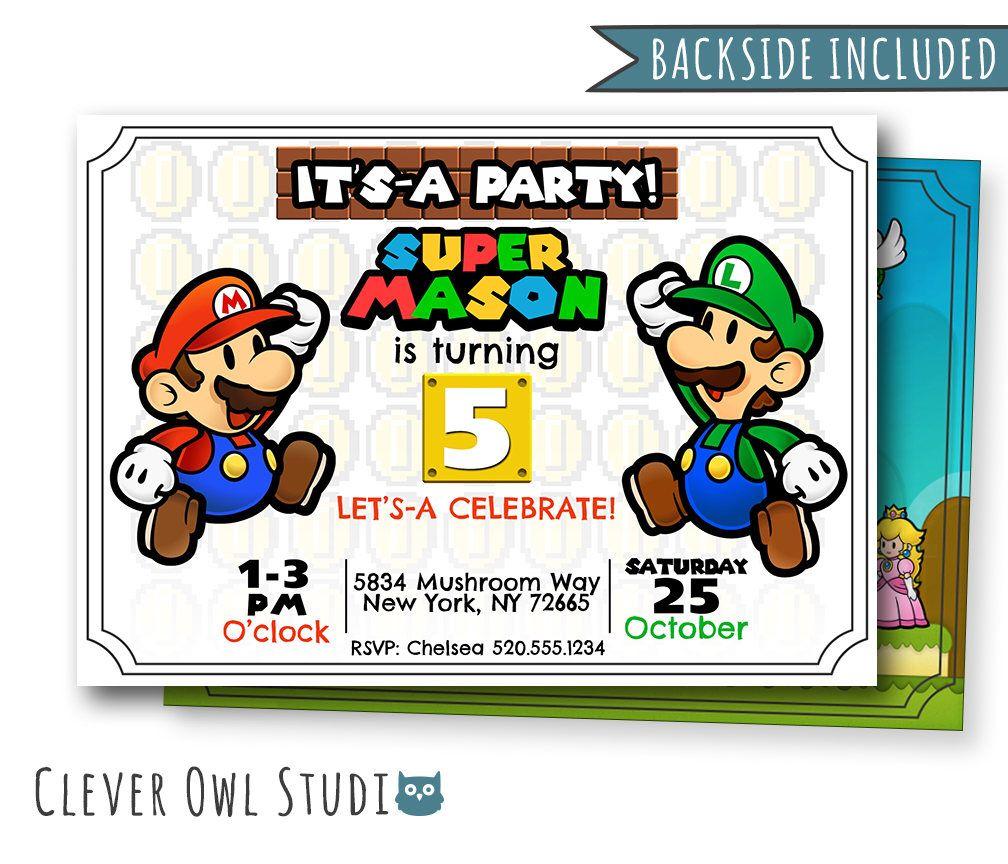 Super Mario Invitation, Mario Birthday Invitation, Super Mario Party ...