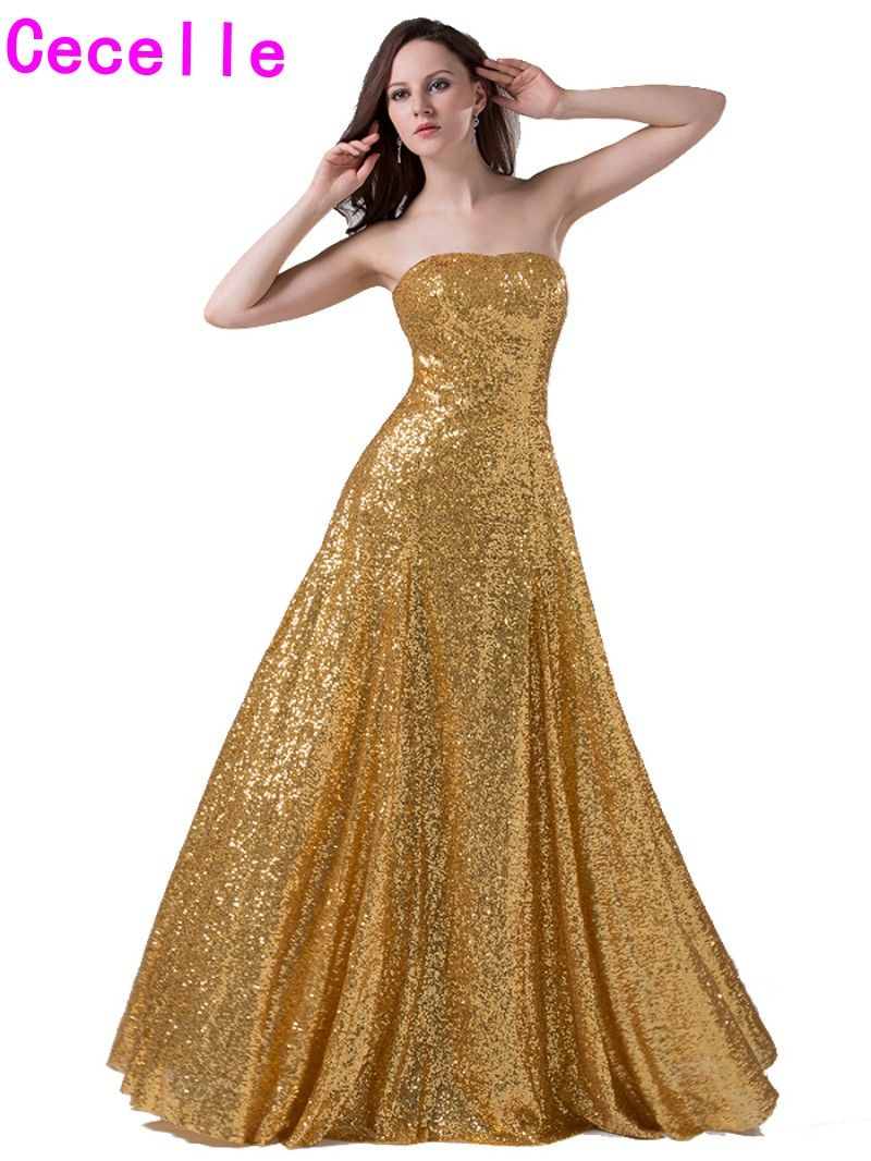 Click to buy ucuc simple fashion aline long gold sequins evening