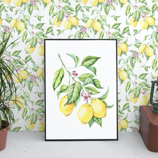 Lemon Print Wallpaper Removable Wallpapers Floral Watercolor Wallpaper Self Adhesive Wall Decal Te Stick Wall Art Floral Wallpaper Watercolor Wallpaper