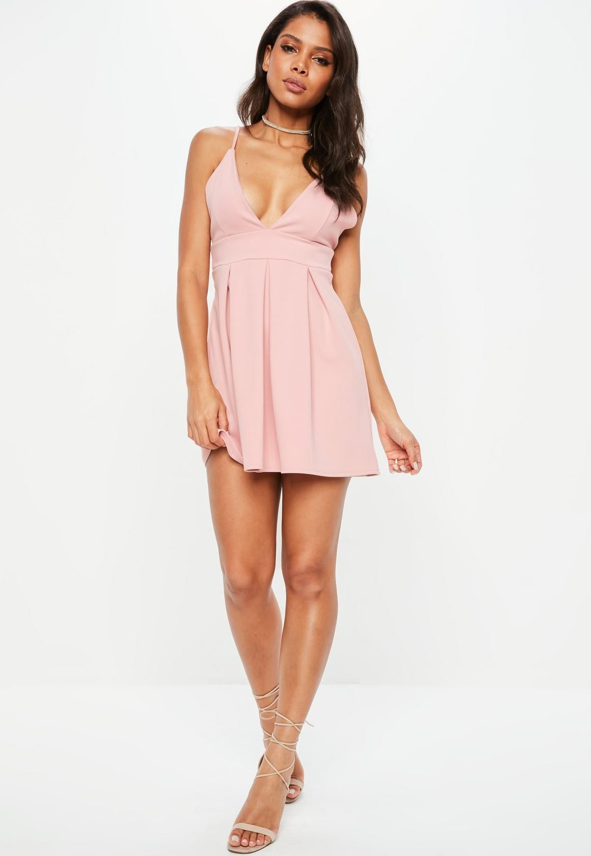 d59dcab229 Missguided - Pink Strappy Plunge Scuba Skater Dress