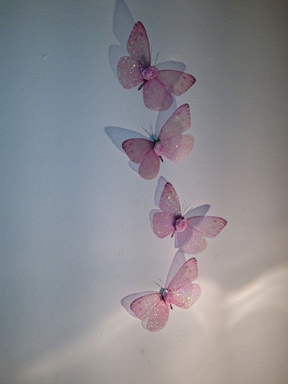 4 Baby Pink In Flight Sparkling Wall Mounted By Mybutterflylove Butterfly Wall Art 3d Butterfly Wall Art Cute Patterns Wallpaper