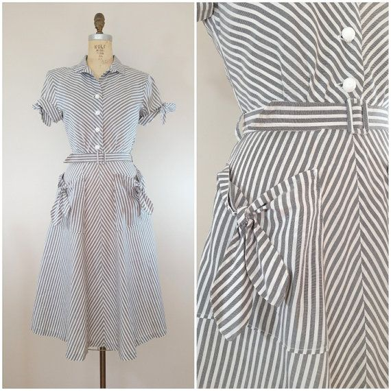 Vintage 1940s Dress / Grey Chevron Dress / Cotton Day Dress / Small ...