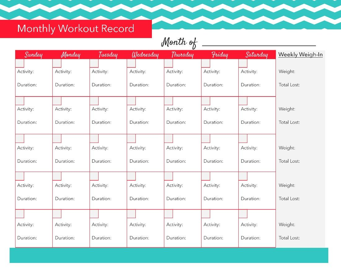 Printable Workout Tracker Template