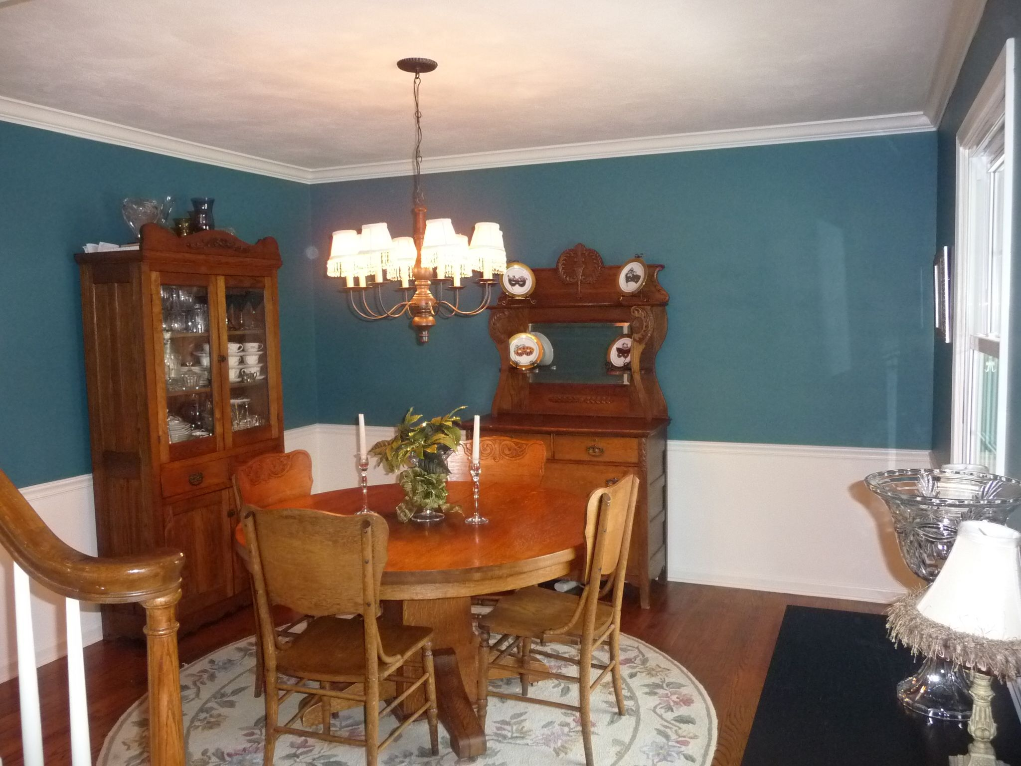 dining room after paint color gliddeon absolutely teal recently painted below chair rail. Black Bedroom Furniture Sets. Home Design Ideas