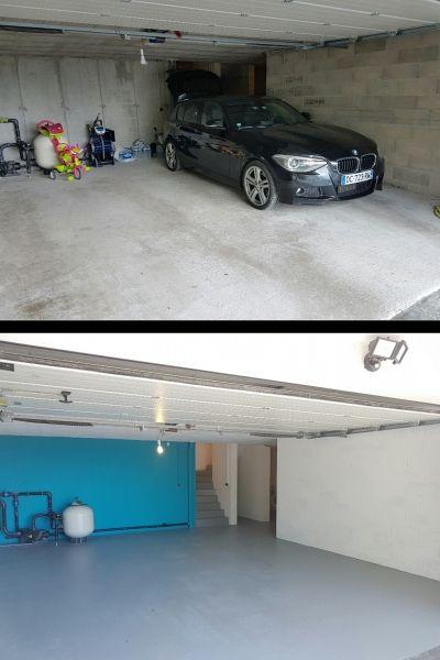 Avant Apres Peinture D Un Sous Sol Garage Et Escalier Peinture Sol Garage Maison Et Appartement Decoration Garage