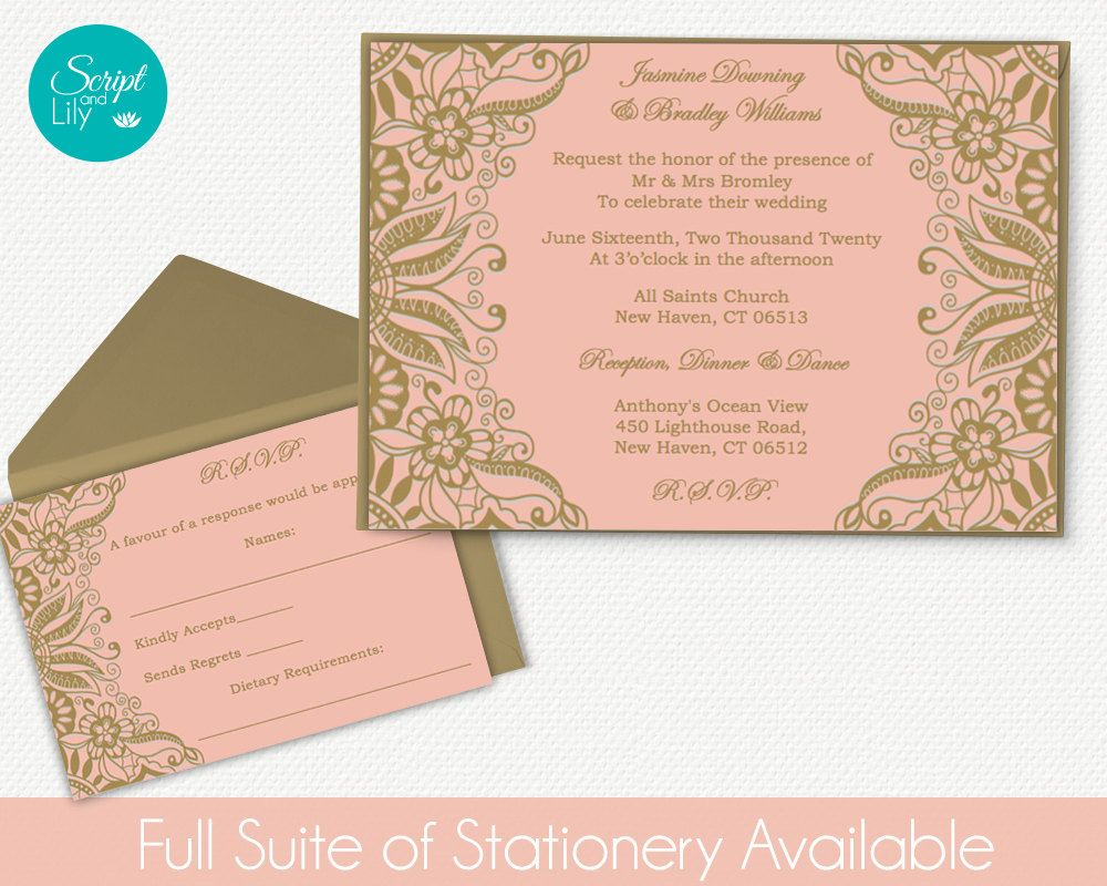 rose gold invitation rsvp templates free color changes wedding