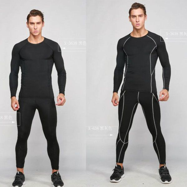Mens Running Fitness Gym Compression Outfits Long Sleeve T-shirt Pants Quick-dry
