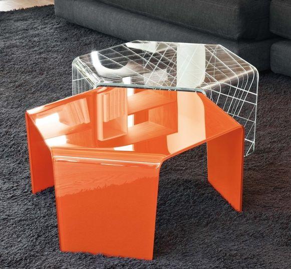design couchtische hexagonal form glas orange modern | Möbel Ideen ...