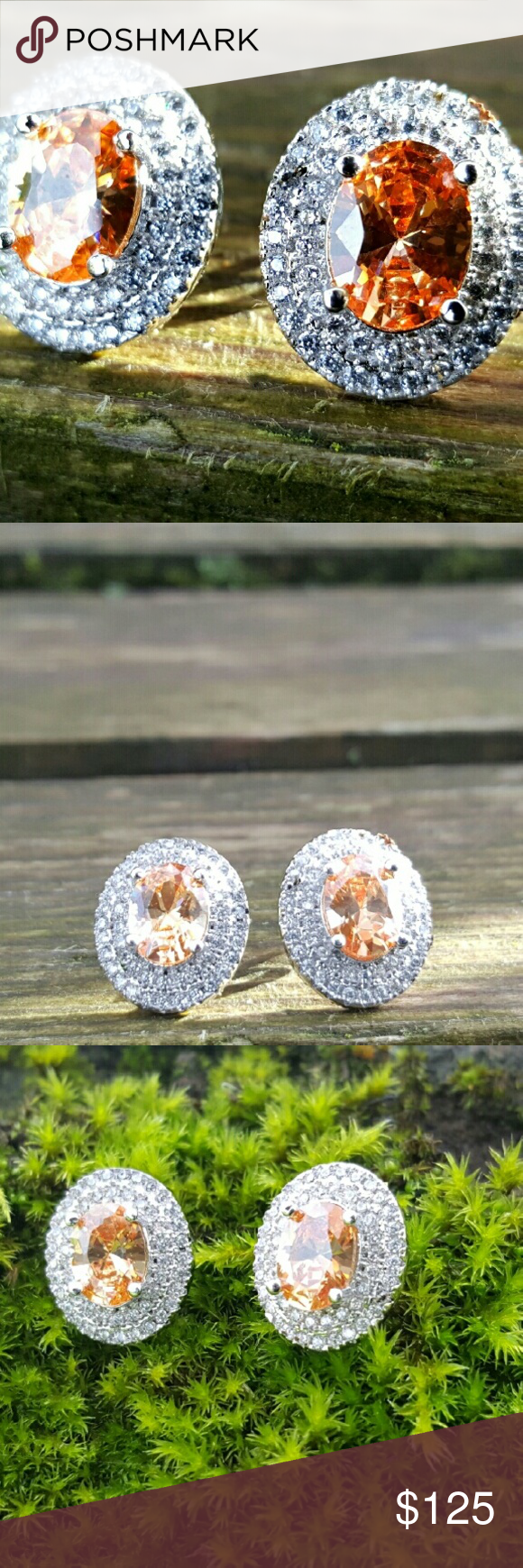 padparadscha with pin cushion shaped set a and sapphire ring carats weighing diamond earrings