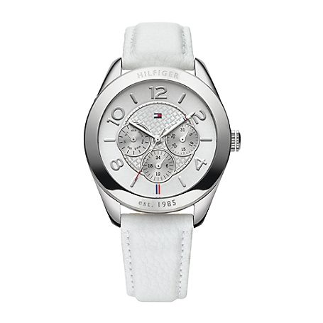 Tommy Hilfiger women's watch. The luxury of time, rendered in beautifully polished stainless steel and leather. • Stainless steel with leather band.   • 40mm case, multi-eye movement.• Water resistant up to 30 meters.• Imported.