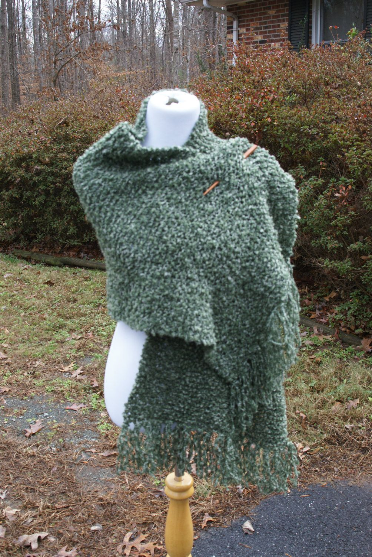 Moss Green Boucle Hand Knit Prayer Shawl Wrap with Fringe by PoppyLesti on Etsy