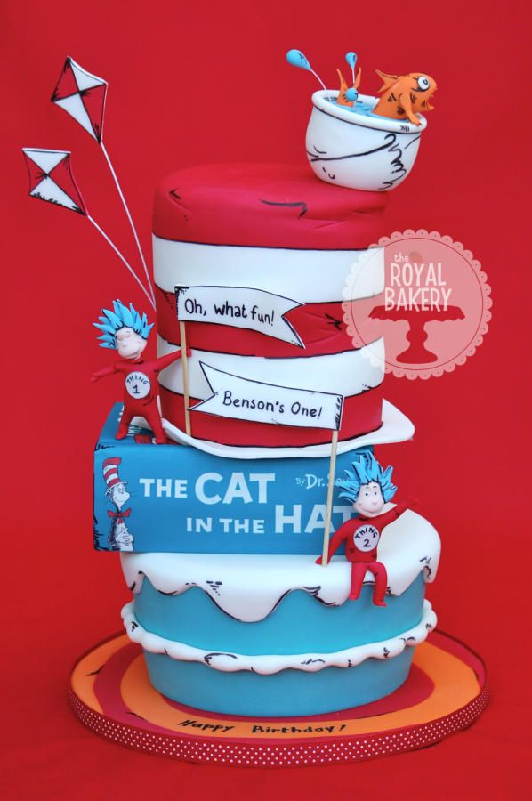 The Cat In The Hat Birthday Cake Seuss Cakes Suess Cake Dr