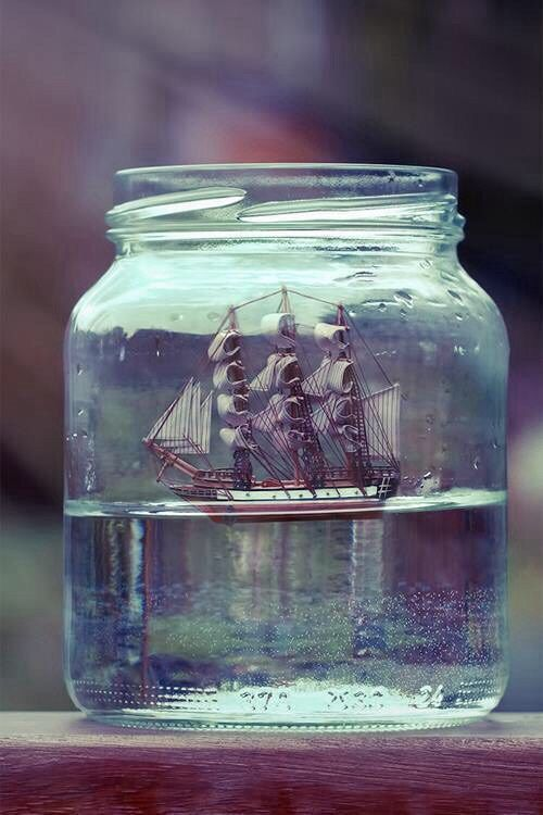 Art Artwork Little Glass Bottle Jar Water Boat Drive Photography Quotes Gif Indie Vintage Hipster Grunge Flaschenkunst Buddelschiff Schiff Ahoi