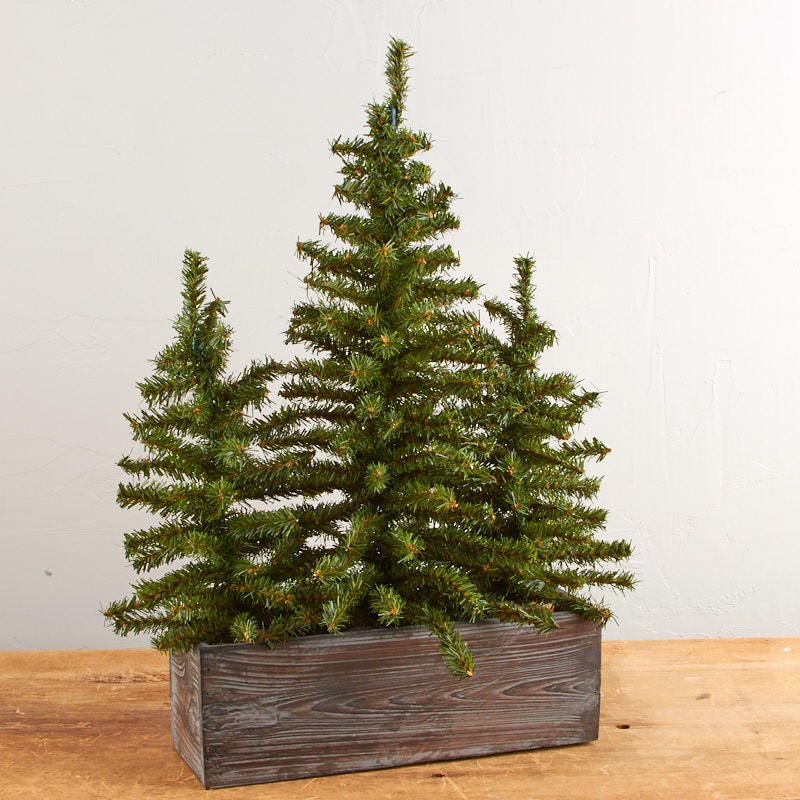 Trio Of Artificial Pine Trees And Rustic Planter Christmas