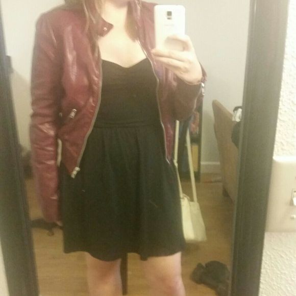 Faux Leather jacket Dark Maroon pleather jacket H&M Jackets & Coats