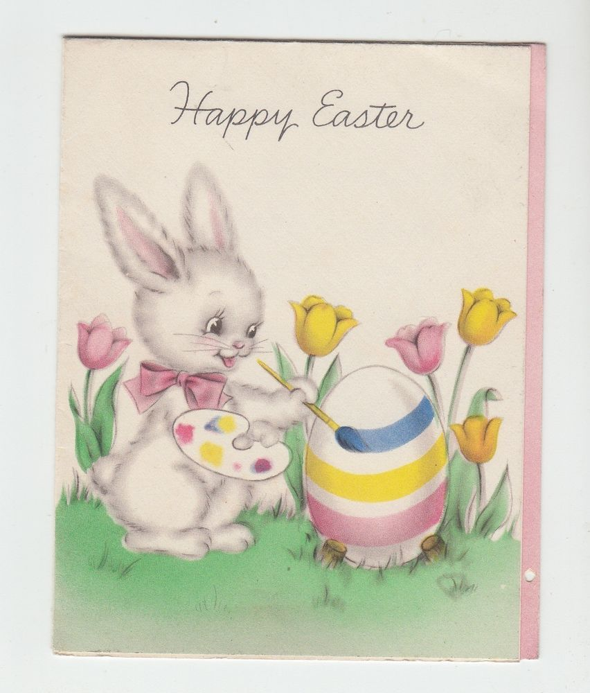 Vintage Bunny Painting Egg By Tulips Easter Greeting Card Easter