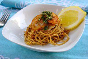 Whole wheat lemon pasta with seared scallops and chimichurri