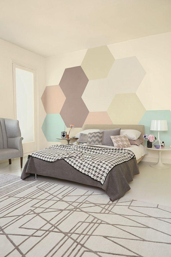 waende gestalten wandgestaltung farbgestaltung hexagon Pinterest - schöner wohnen schlafzimmer gestalten