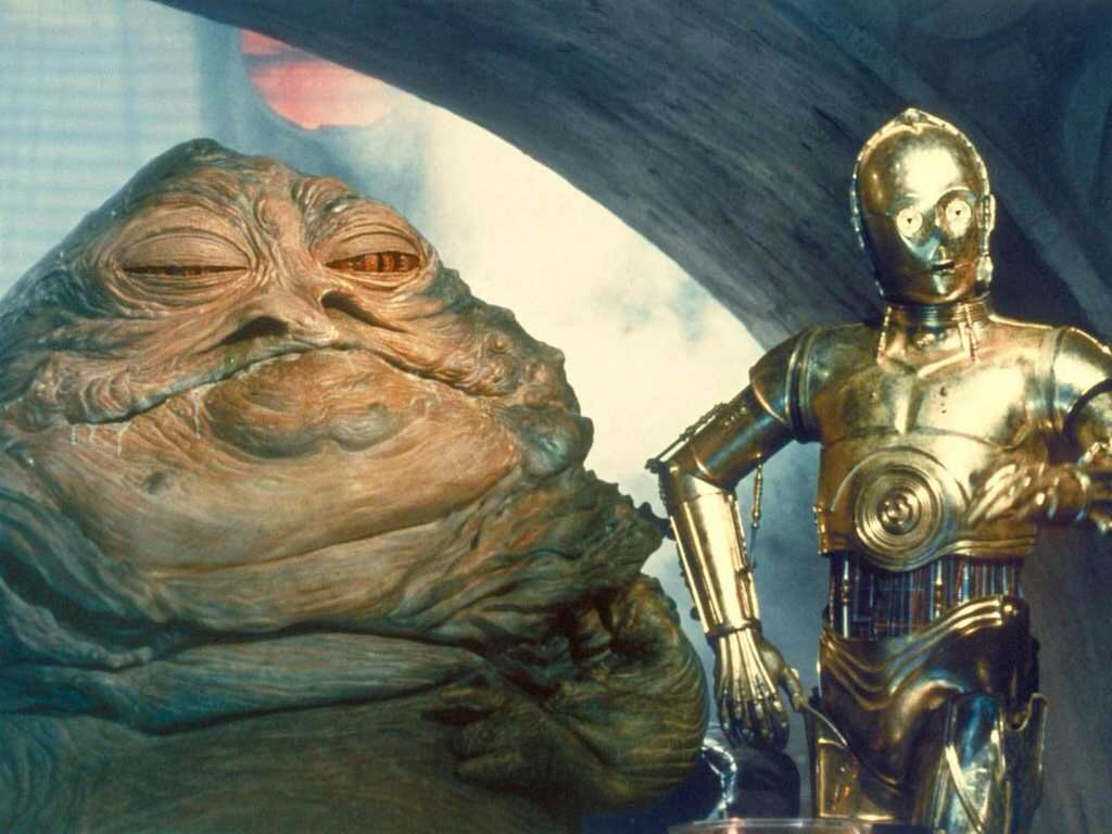 Jabba the Hutt and C3po | Star wars facts, Star wars characters, Star wars  droids