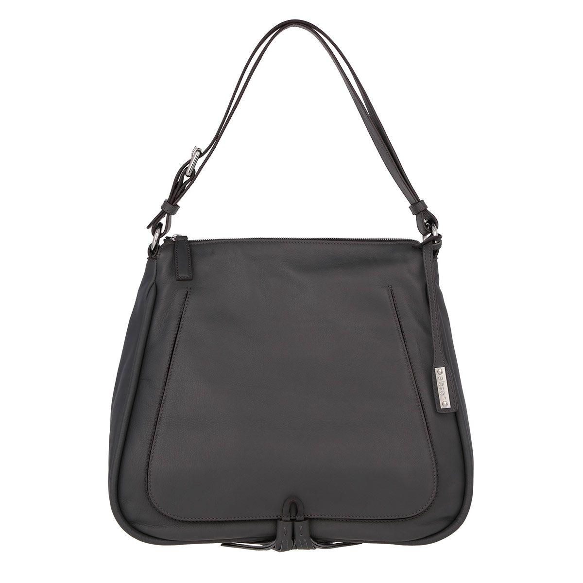 Abro Premium Abro Velvet Calf Leather Tassel Hobo Bag Dark Grey In Grau Fashionette Leder Hobo Bag Kalb
