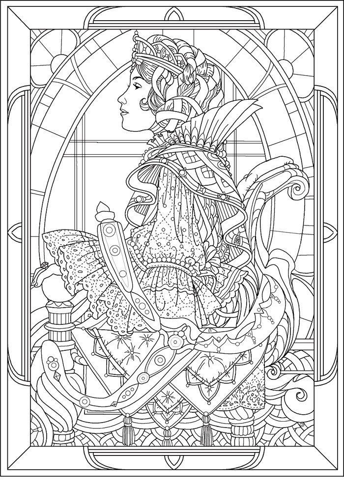 free coloring page coloring adult queen art nouveau style coloring - Art Nouveau Coloring Book