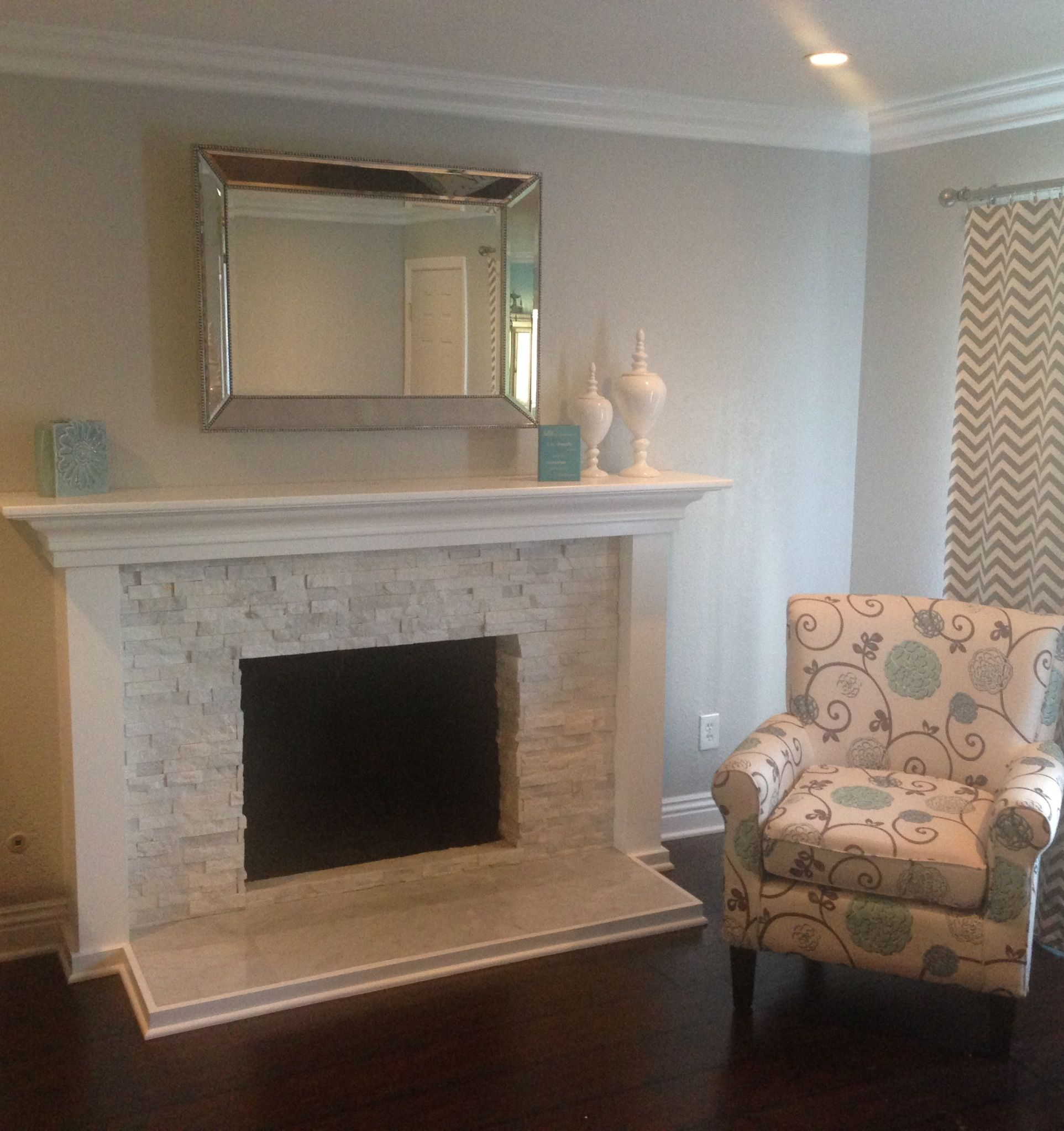 Stacked Quartz fireplace and custom mantle. | Fireplace ...