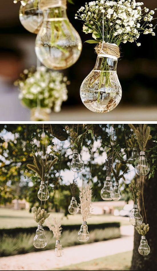 20 diy wedding decorations on a budget hanging light bulbs hanging light bulb vases easy wedding decorations dollar stores inexpensive wedding decor ideas unique junglespirit Choice Image