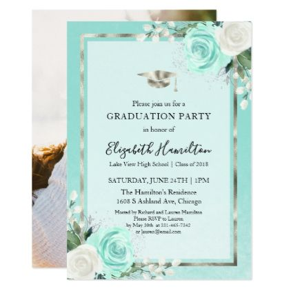 Teal foil silver floral graduation party photo card graduation teal foil silver floral graduation party photo card graduation party invitations card cards cyo filmwisefo