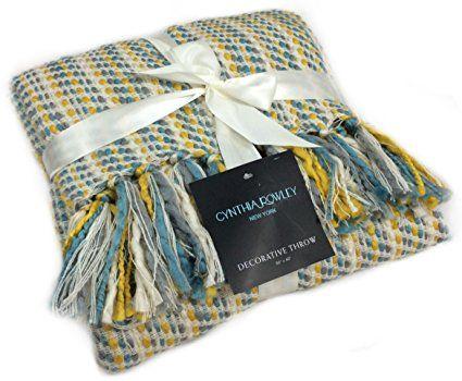 Throw Blanket Designer Cynthia Rowley Ribbon Weave Mustard Yellow Turquoise Teal Gray Off White With F Yellow Throw Blanket Grey Throw Blanket Yellow Throw