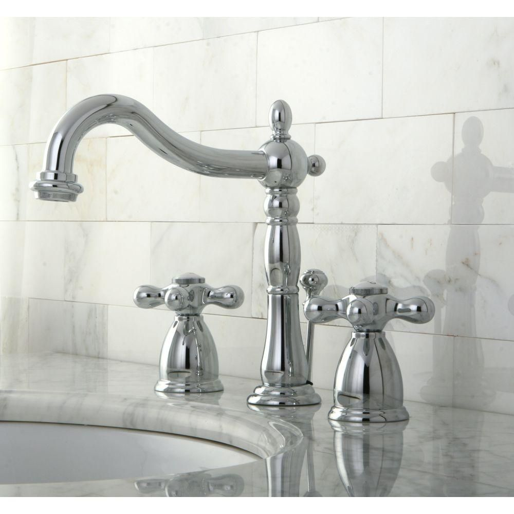 Beautiful Victorian Bathroom Faucet: Kingston Brass Victorian 8 In. Widespread 2-Handle Bathroom Faucet In Polished Chrome