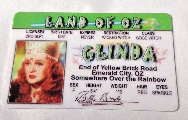 Tc The Glinda Oz Of 2002 Witch Wizard Fake Fun Id License New Good Trading Witch Cards Oz