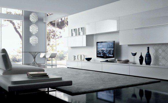 White Sleek Minimalist Living Room Interior Design