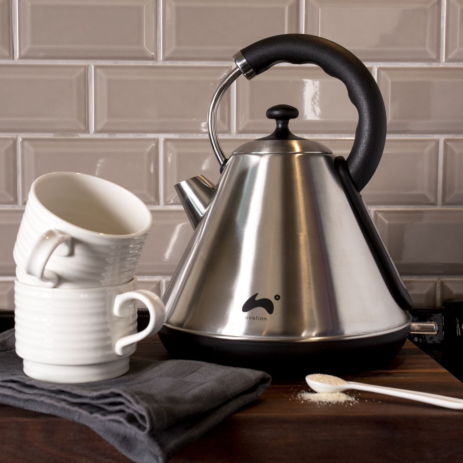 ovation pyramid kettle 1 8l stainless steel kettle steel and