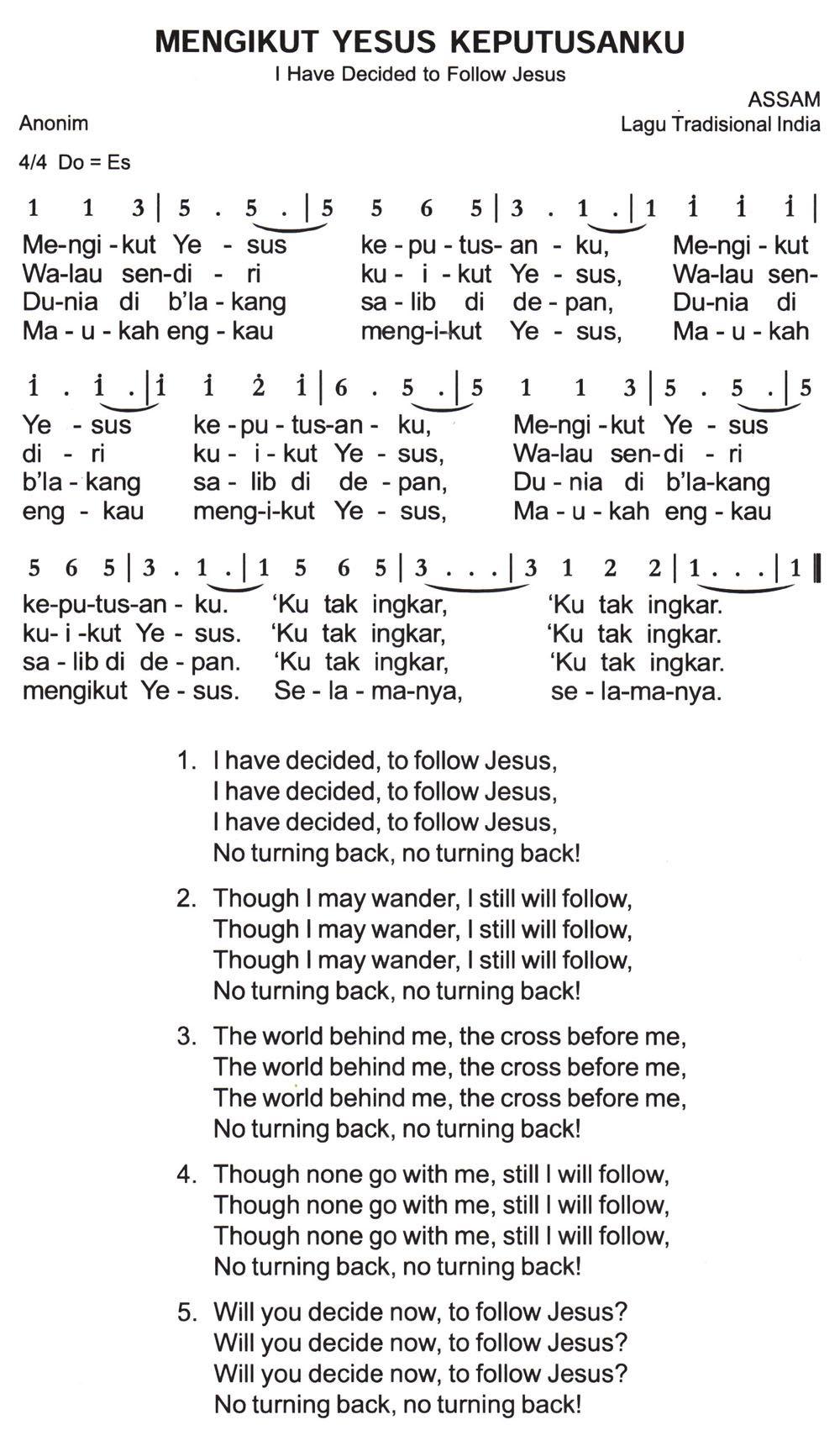 Chord Mengikut Yesus : chord, mengikut, yesus, Mengikut, Yesus, Keputusanku, Decided, Follow, Jesus, Partitur, Angka, Jesus,