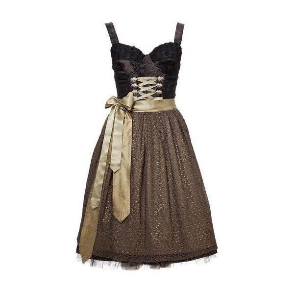 Dirndl-Trends 2011: Oktoberfest München: Dirndl für die Wiesn 2011 -... ❤ liked on Polyvore featuring dresses, short dresses, gown, brown dress and mini dress