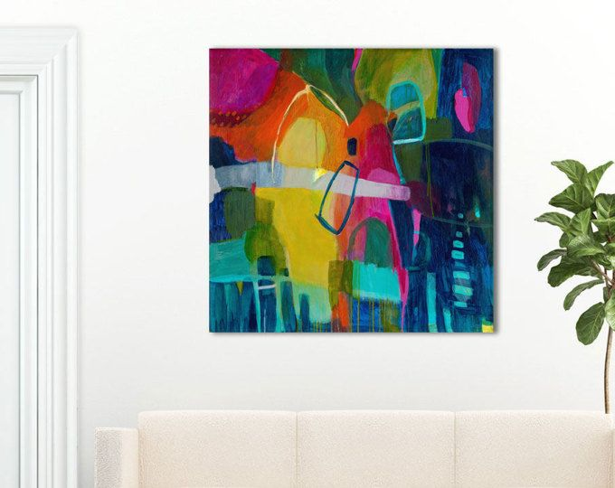 Large Bright Abstract Art Large Giclee Abstract Art Indigo Blue Abstract Painting Navy Blue Pink Yell Abstract Painting Print Painting Bright Abstract Art