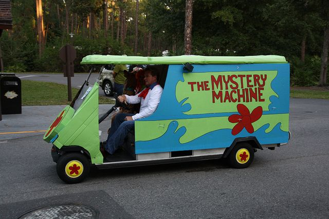 The Mystery Machine Golf Cart in the Parade   Golf Cart Parade ... on gem food truck cart, delivery cart, van pool, pushing grocery cart, crazy cart, street cart,