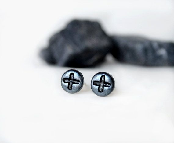 Mens Earrings Silver For Men Steampunk Uni Studs Round Black Stud Jewelry