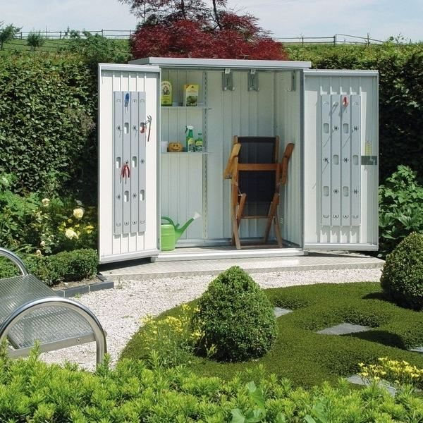 Small garden shed garden storage ideas garden tools for Side of the house storage shed