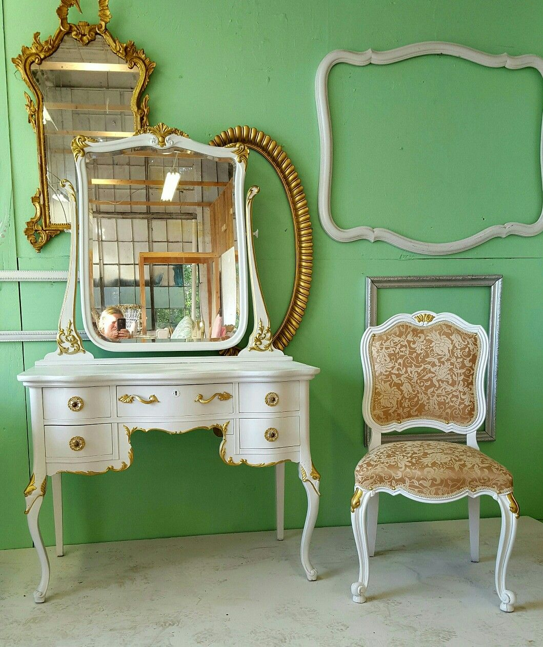 Antique Refinished White and Gold Leaf Vanity with Mirror