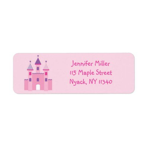 pink purple princess birthday address label princess birthday