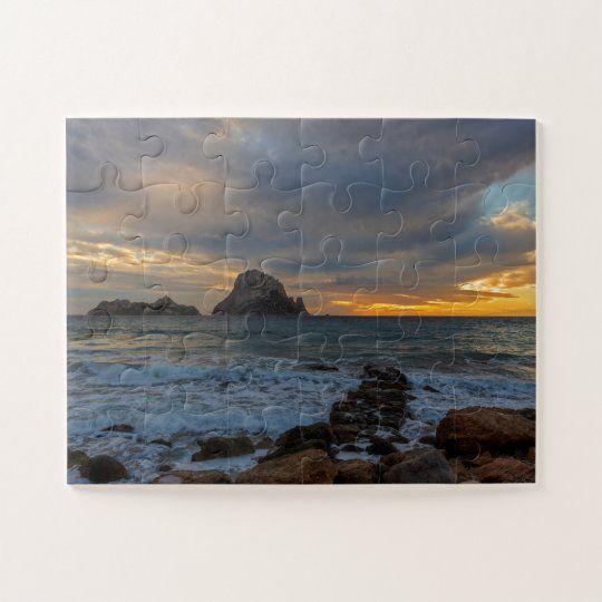 Puzzle de un atardecer nublado desde Cala D´Hort con Es Vedra